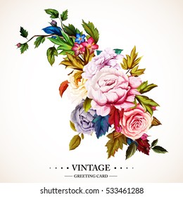 Flowers. Bouquet of roses and peony. Vintage picture, can be used as invitation, greeting card, print on clothes, etc. Hand drawn flowers. Vector - stock