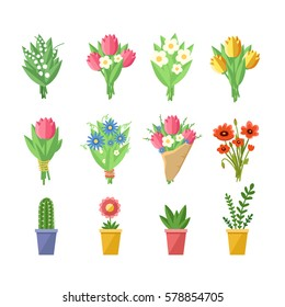Flowers bouquets set. Tulips, poppies, chamomile, lilies of the valley, plants in pots. Vector colorful illustration isolated on white