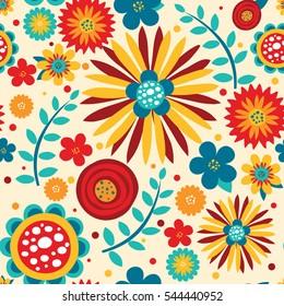 Flowers Bright Seamless Pattern. Vector Illustration.