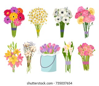 Flowers brunch bouquet set collection flat floral vector garden vector illustration.