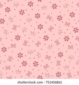 Flowers, butterflies, crowns and small round dots. Cute girly seamless pattern. Vector illustration.