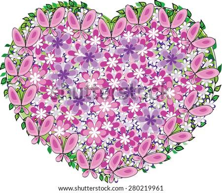 Flowers Butterflies Heart Shape Design Stock Vector Royalty