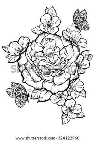 Flowers Butterflies Sketch Tattoo Vector Illustration Stock Vector