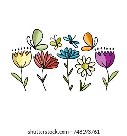 Flowers and butterflies, sketch for your design