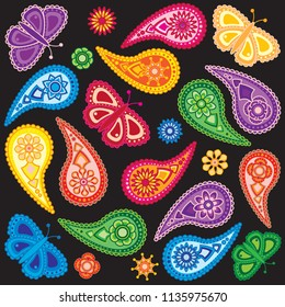 Flowers and Butterflies traditional paisley design seamless pattern background isolated on white background vector illustration