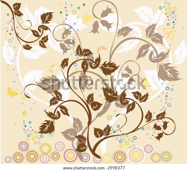 Flowers and butterflies - vector illustration
