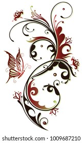 Flowers with butterfly and floral ornament. Red and brown.