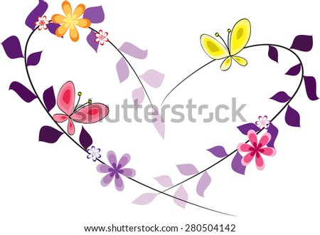 Flowers Butterfly Heart Shape Design Stock Vector Royalty