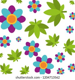 flowers cannabis leaves hippie retro pattern