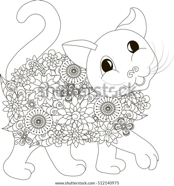 Flowers Cat Coloring Page Antistress Vector Stock ...