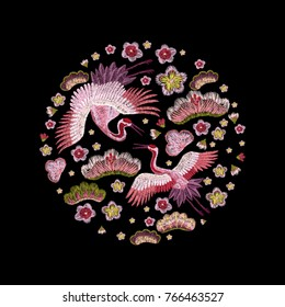 flowers cherry blossom and crane, east. traditional stylish fashionable embroidered embroidery on a black background. sketch for printing on fabric, bag, clothes, accessories and design. trend vector