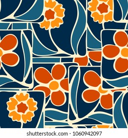 The flowers collected by their fragments of squares are arranged in a careless manner. Seamless multi-colored pattern. Peculiar camouflage.