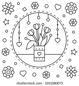flowers coloring page vector illustration 260nw