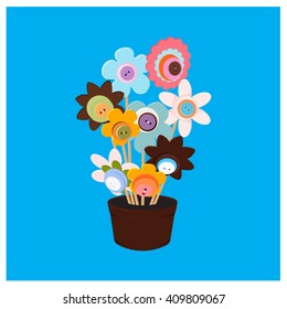flowers colors of the buttons in a pot vector