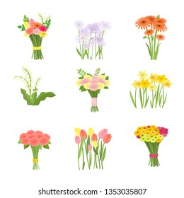 Flowers composition set icons isolated on white background
