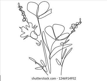Flowers. Continuous line