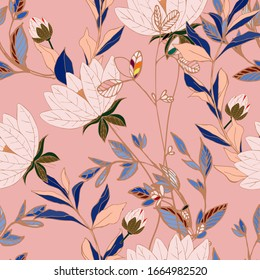 Flowers of cream beige lilies with leaves and petals on a pink color background seamless pattern. Vector illustration with hand-drawn plants.
