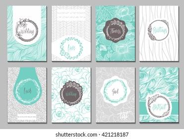 Flowers creative cards template. Elegant design for cafe, restaurant, heraldic, jewelry, fashion.