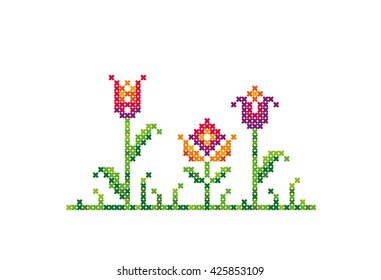 Flowers. Cross stitch. Vector element embroidery.
