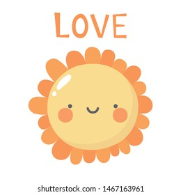 Flowers cute pattern, smile flower face cartoon background with text, vector illustration