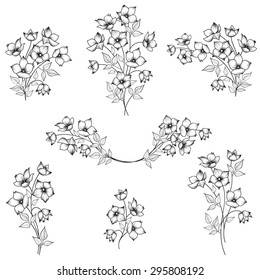Flowers decor elements for framework. Flower bouquet decoration for frame. Abstract Floral border set. Floral posy collection.