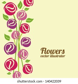 flowers design over  cream background vector illustration
