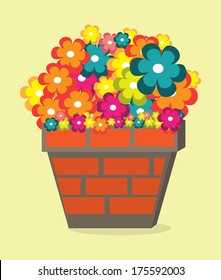 flowers design over cream  background vector illustration