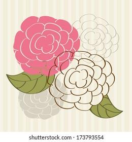 flowers design over lineal background vector illustration