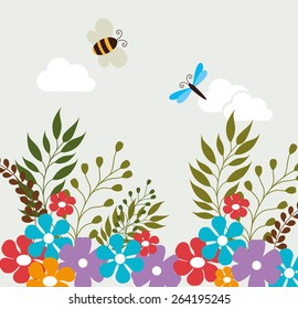 Flowers design over white background, vector illustration.