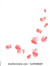 Flowers design. Flowers petals. Flowers petals. Sakura flying petals isolated on white background. Petals Roses Flowers. Vector