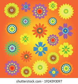 flowers of different colors on a light background. spring - summer