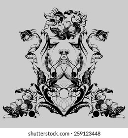 Flowers, drawn in ink on old paper. Children's drawing a pencil in graphics technology. Roses and daisies. Vintage elegant style. The thin smooth lines. Template for greeting card. Black and gray