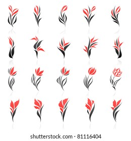 Flowers. Elements for design. Vector logo template set.