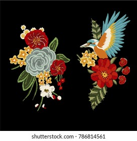 flowers embroidery print
