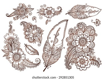 Flowers and feathers mehndi style vector designs set