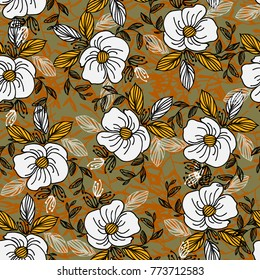 Flowers. Field plants. Grassy pattern. Flower repeating pattern. Composition of lovely flowers, leaves and bunches. Elegant background with a floral pattern.
