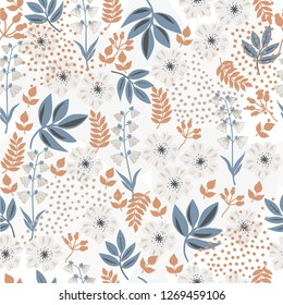 Flowers flat design, seamless pattern, bright background, hand  drawn, abstract, vector