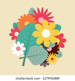 Flowers Flat Design Vector Illustration