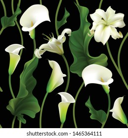 Flowers. Floral background. Callas. Lilies. White. Green leaves. Seamless pattern. Dark background.