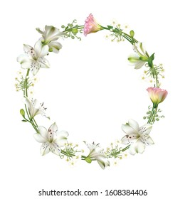 Flowers. Floral background. Eustoma. Lilies. White. Green. Leaves.