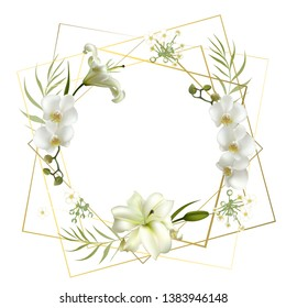 Flowers. Floral background. Orchids. Lilies. White. Green leaves.