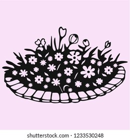flowers in flowerbed vector silhouette isolated