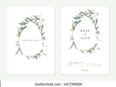 Flowers and foliage wedding invitation card template design, pear frame decorated with various green leaves and flowers on white