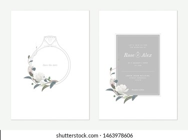 Flowers and foliage wedding invitation card template design, wedding ring decorated with white Anise magnolia flowers and leaves on white