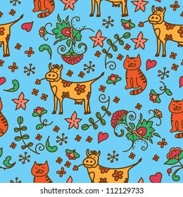 Flowers folk seamless pattern with animals. Can be used for wallpaper, pattern fills, web page background, surface textures, textile.