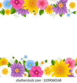Flowers Frame White Background With Gradient Mesh, Vector Illustration