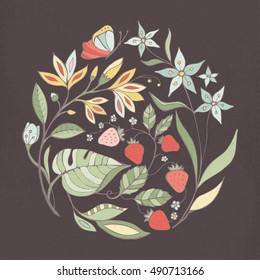 Flowers and fruits vintage floral decoration with butterfly