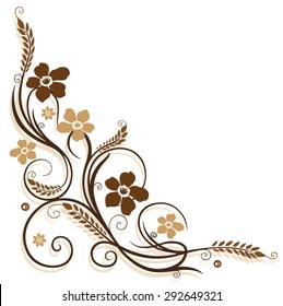 Flowers with grain, Brown, border