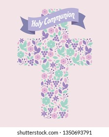 flowers with grapes and doves inside cross with ribbon