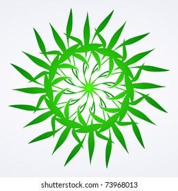 Flowers green vector ornament detail